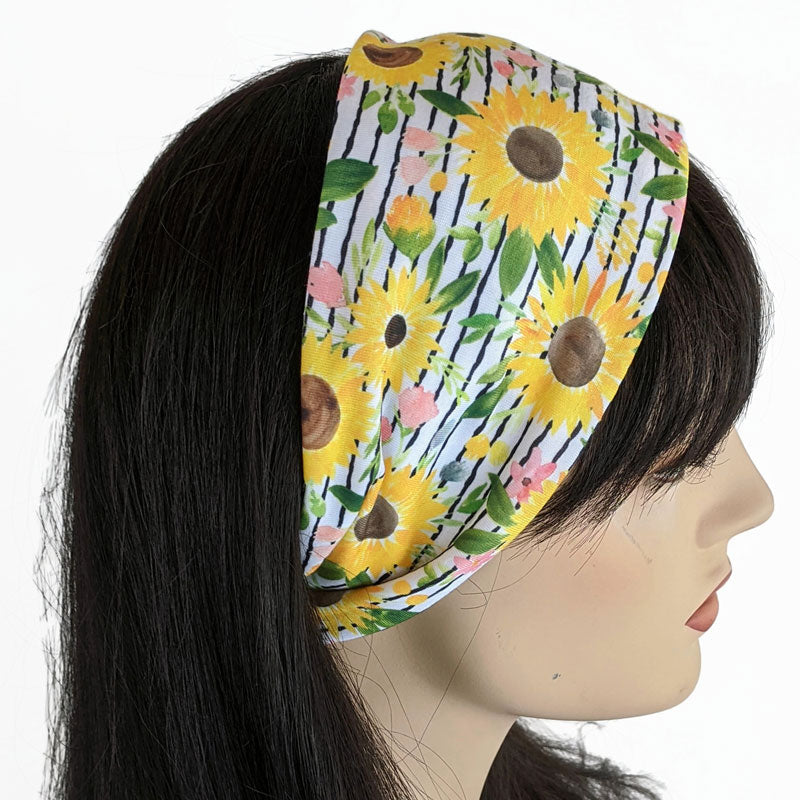 Premium, custom printed fabric, wide comfy jersey knit band, hat band, sunflowers