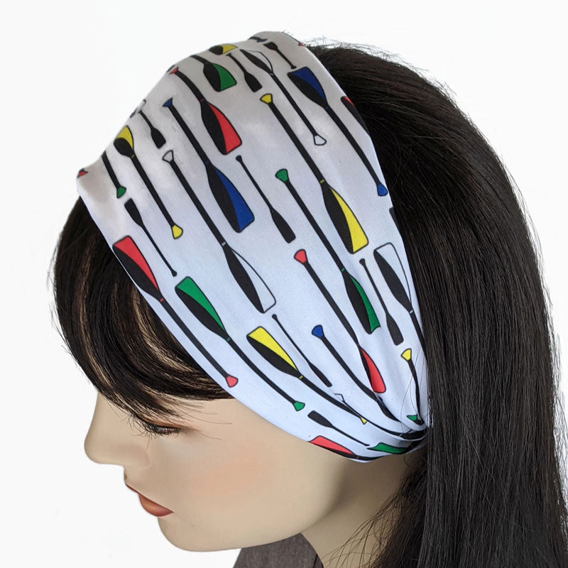 Premium, custom printed fabric, wide comfy jersey knit band, hat band, paddles oars