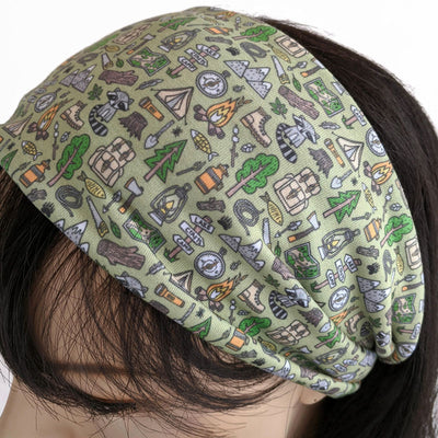 11 - Premium, custom printed fabric, wide comfy jersey knit band, camping theme