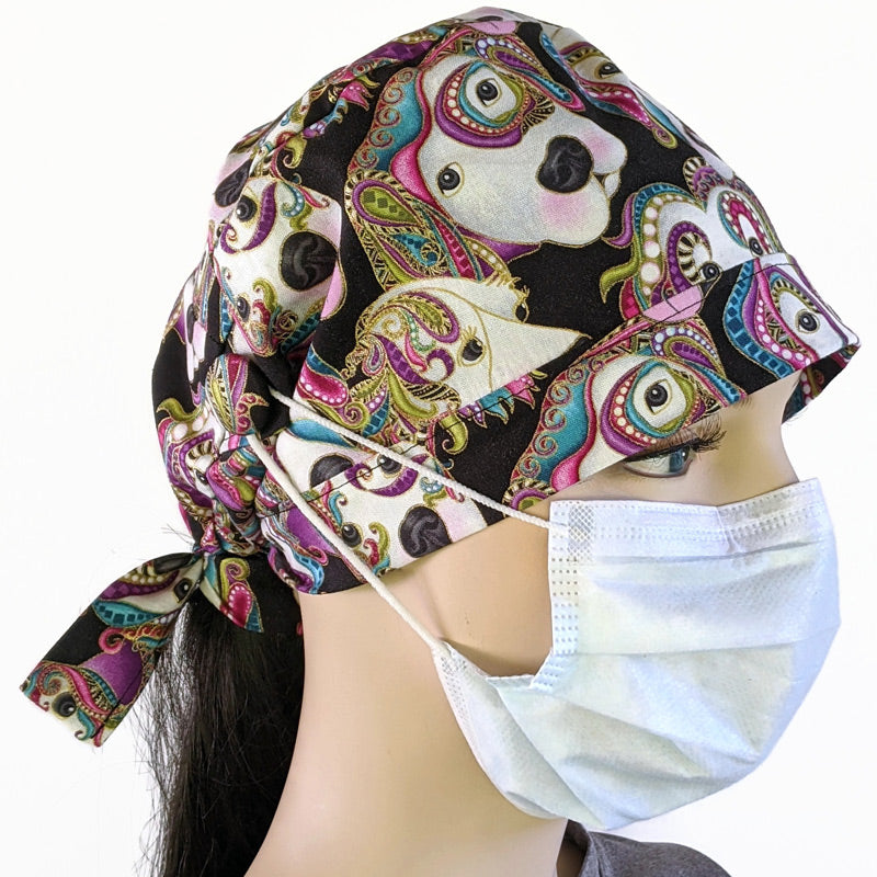 Cotton scrub cap, elastic and tie fit, mask elastic built in buttons, pretty dogs