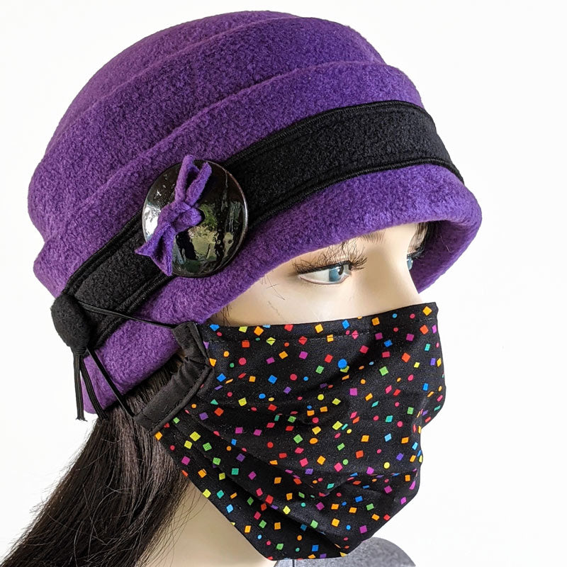 Big Button toque with ear saver buttons, in rich purple