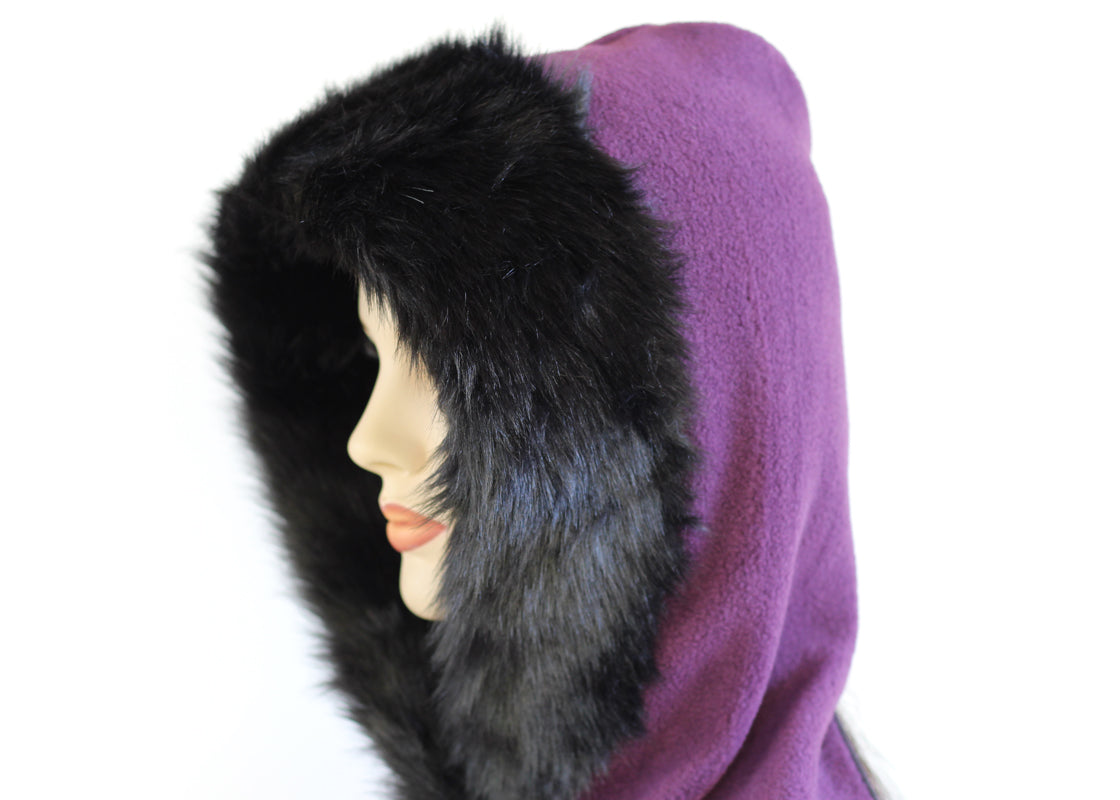 Cosy warm winter hat hoodie scarf Neckwarmer in premium purple fleece with black faux fur