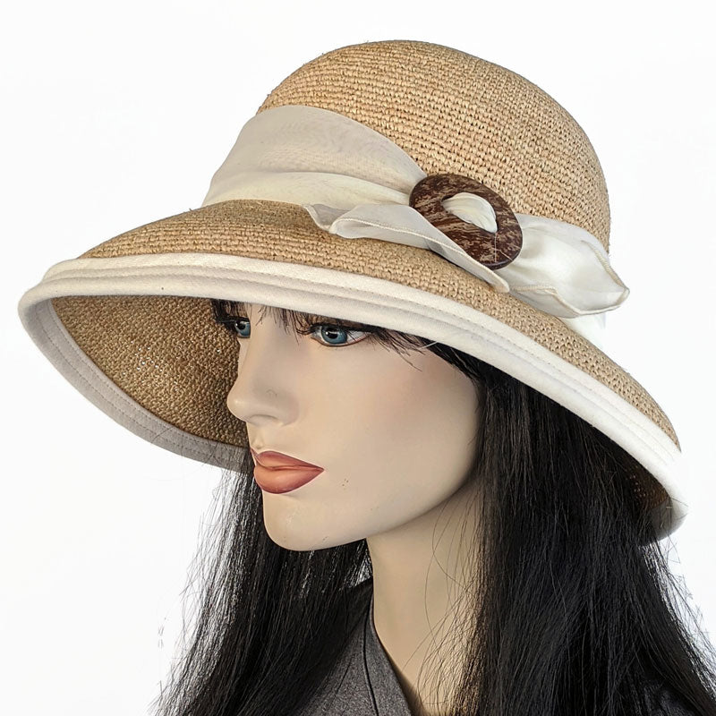 206-a Crochet Raffia Sun Hat with natural trim, scarf and adjustable fit