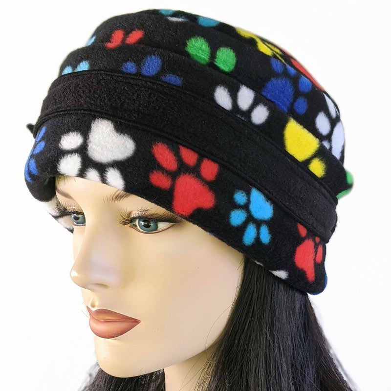 Big Button toque with mask ear saver buttons, in colourful rainbow paws print