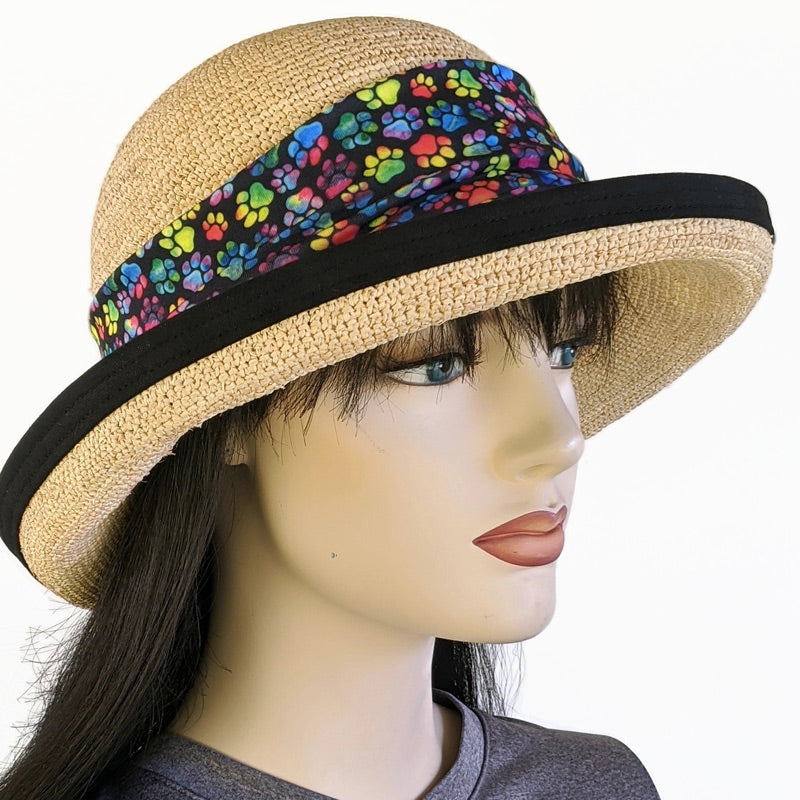 201-1e Raffia Straw sun hat with finished edge, adjustable fit, removable paws headband