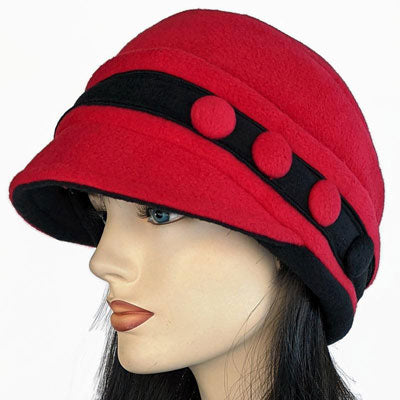 Premium Fashion Hat in Red with tuck up earflaps