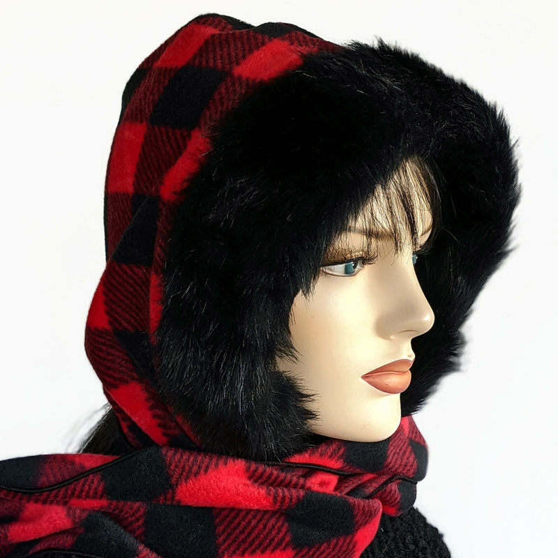 Cosy warm winter hoodie scarf Neckwarmer, red and black plaid check fleece with black faux fur