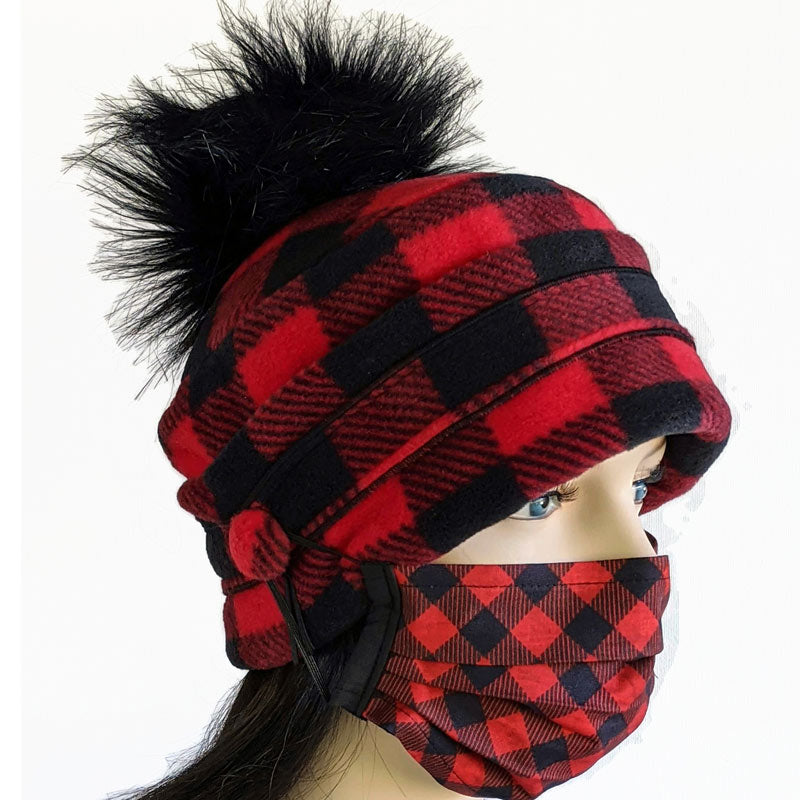 Pom Pom Toque in classic red and black plaid check with optional mask buttons