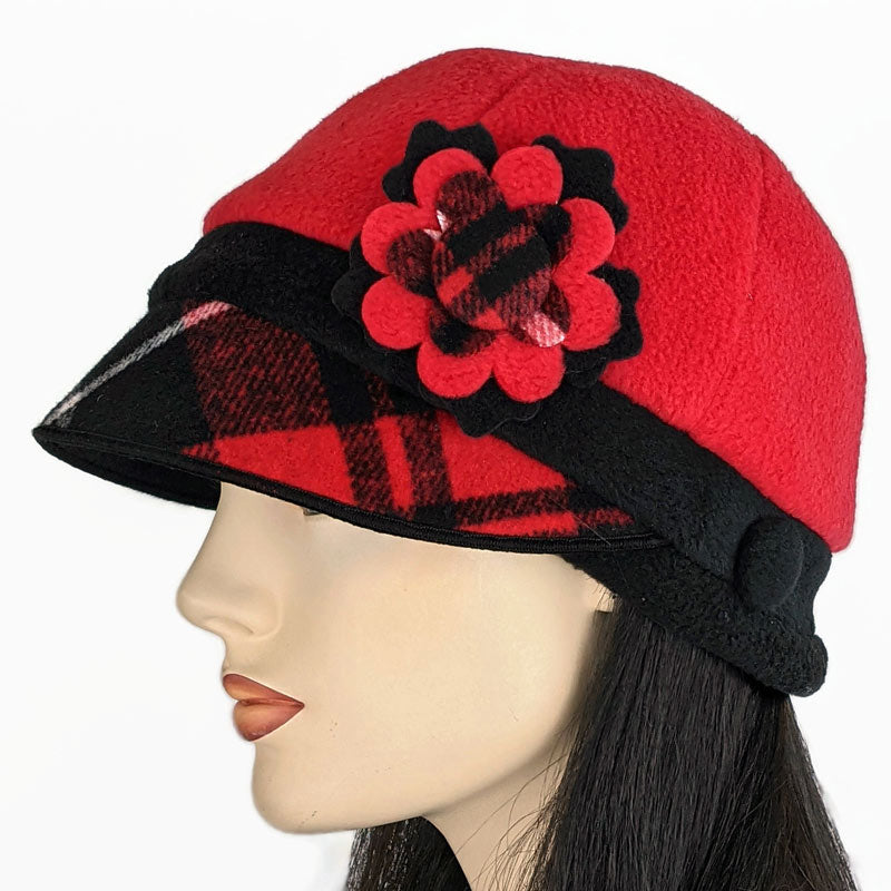 Fleece cap in red and black with plaid trim