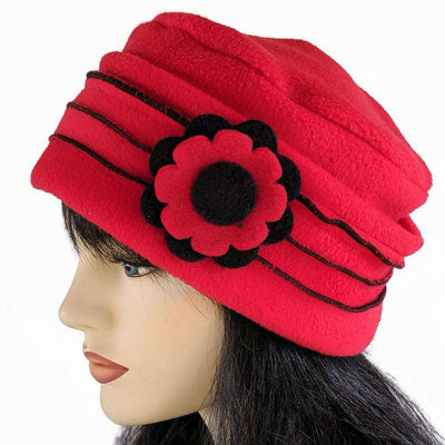Cosy warm toque with ruffle detail and fun flower pin in assorted colors