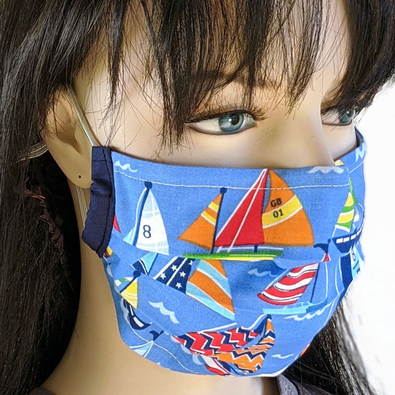 3 layer pleated folding style fabric face mask, bright sail boats, adult and youth size