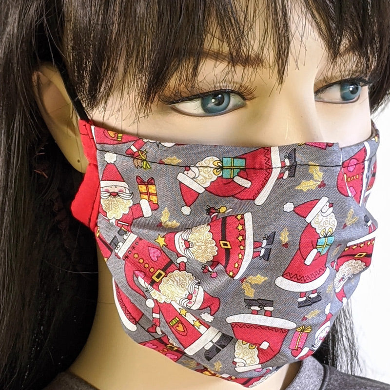 3 layer pleated folding style fabric face mask, lots of Santas