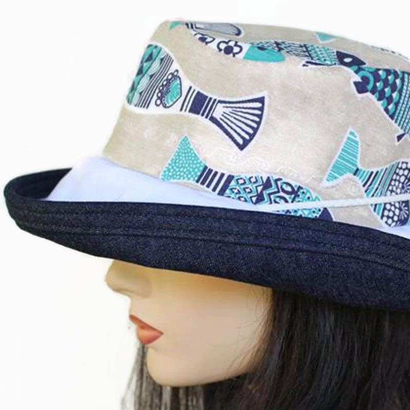 131 Sunblocker UV summer hat sun hat with large wide brim featuring lovely Portugal sardines print
