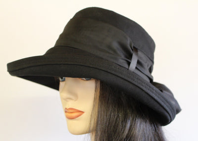 Wide brim UV Sun Hat in Black Cotton with long black fashion scarf