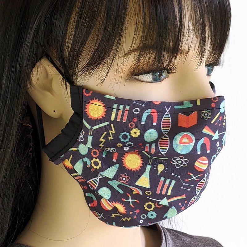 3 layer pleated folding style fabric face mask, science ... all of them, one size
