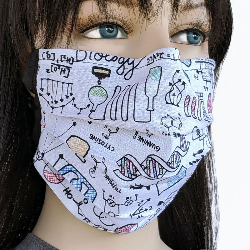3 layer pleated folding style fabric face mask, science and chemistry theme, one size