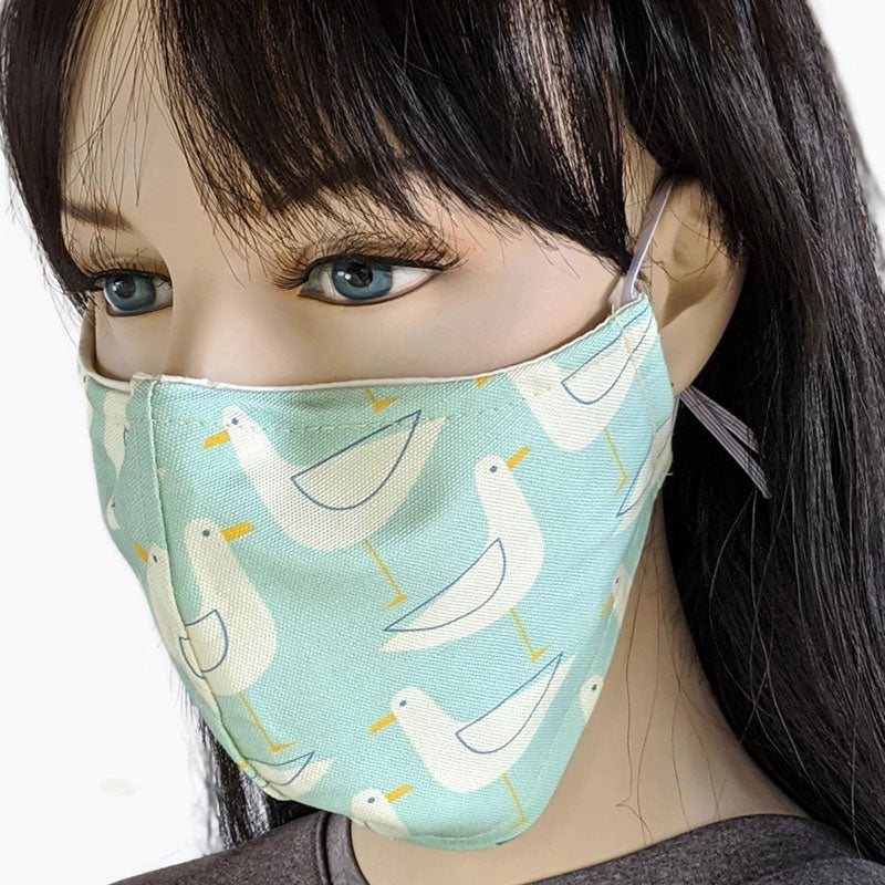 Cotton linen Fabric face mask, with poly cotton lining, sea gulls