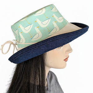 138 Sunblocker UV summer sun hat with large wide brim featuring seagulls