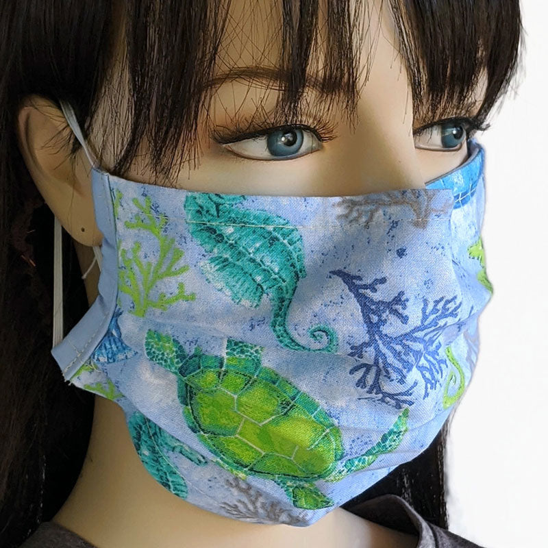 3 layer pleated folding style fabric face mask, sea life featuring sea turtles, one size
