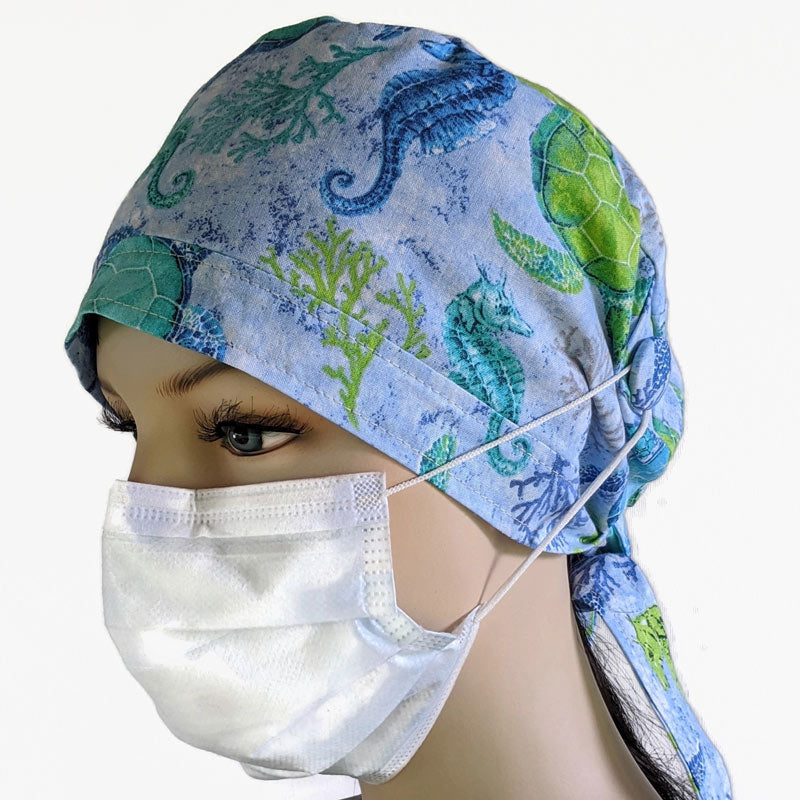 Cotton scrub cap, elastic and tie fit, mask elastic built in buttons, unisex, sea turtles