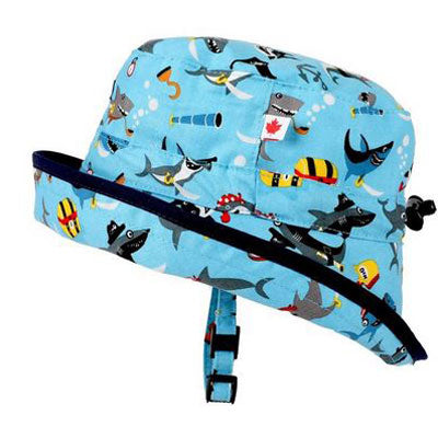 Kids Adjustable Sun Hat, in sizes infant to 8 years, sharks ahoy print