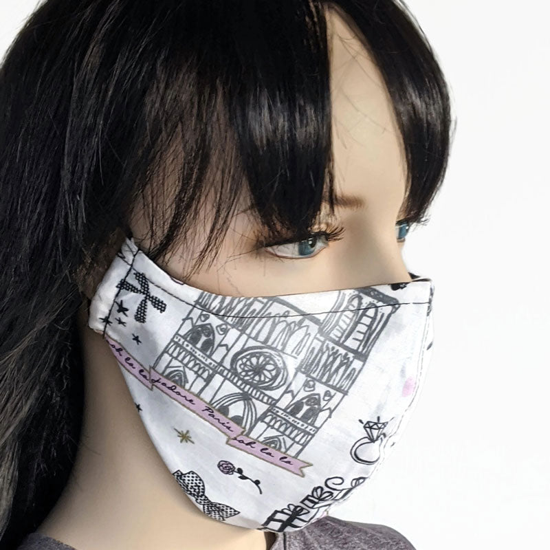 Fabric face mask, shopping in Paris themed print, regular adult size