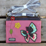 511 Small cross body phone purse with 2 adjustable straps featuring butterfly applique
