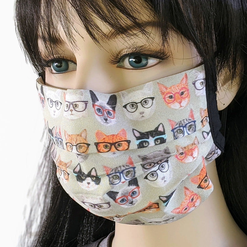 3 layer pleated folding style fabric face mask, smarty cats with glasses, one size