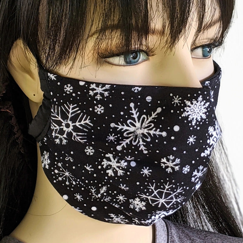Fitted or 3 layer pleated folding style fabric face mask, snowflakes on black, two sizes