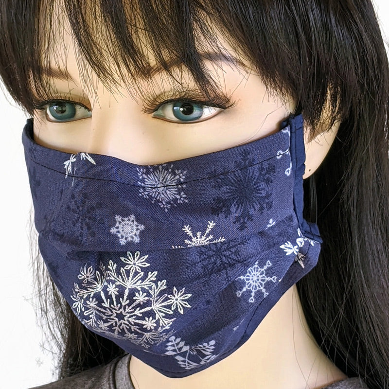 3 layer pleated folding style fabric face mask, snowflakes in silver on navy, one size