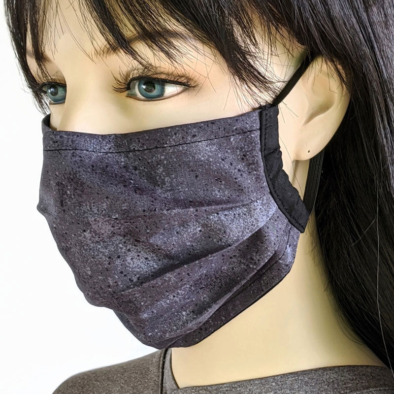 3 layer pleated folding style fabric face mask, charcoal and black splatter, one size