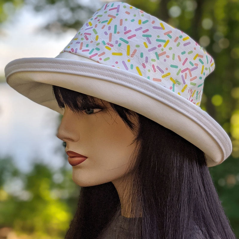 114-a Sunblocker UV summer hat sun hat with large wide brim featuring sprinkles