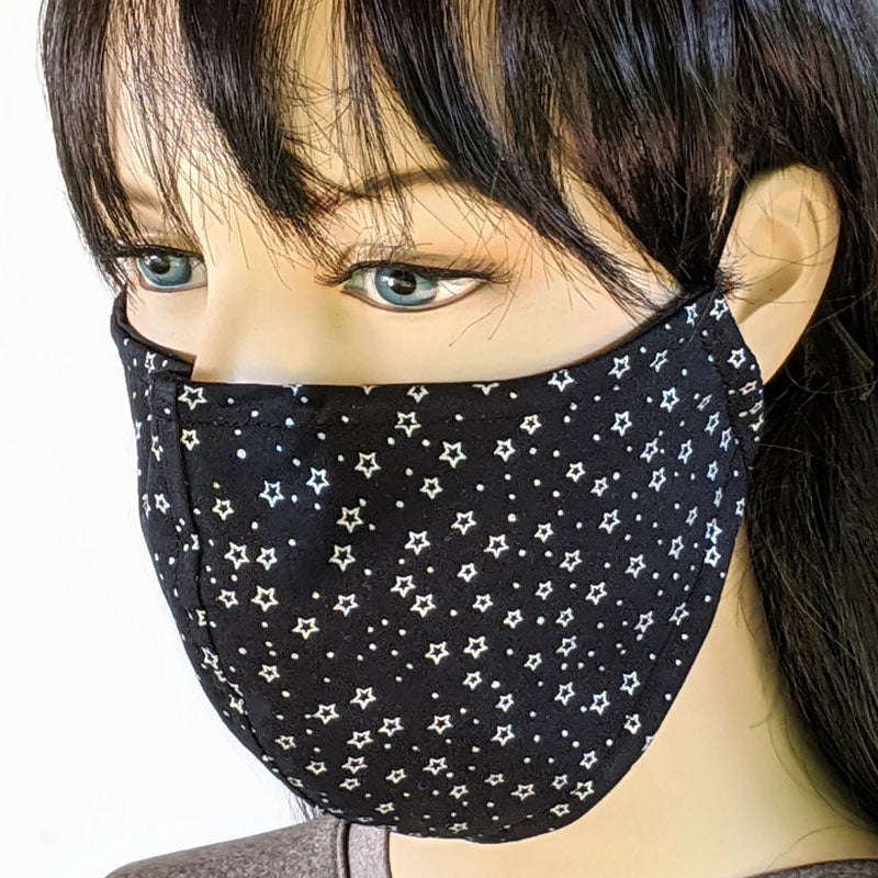 3 layer fabric face mask, black and metallic silver stars print, in adult regular