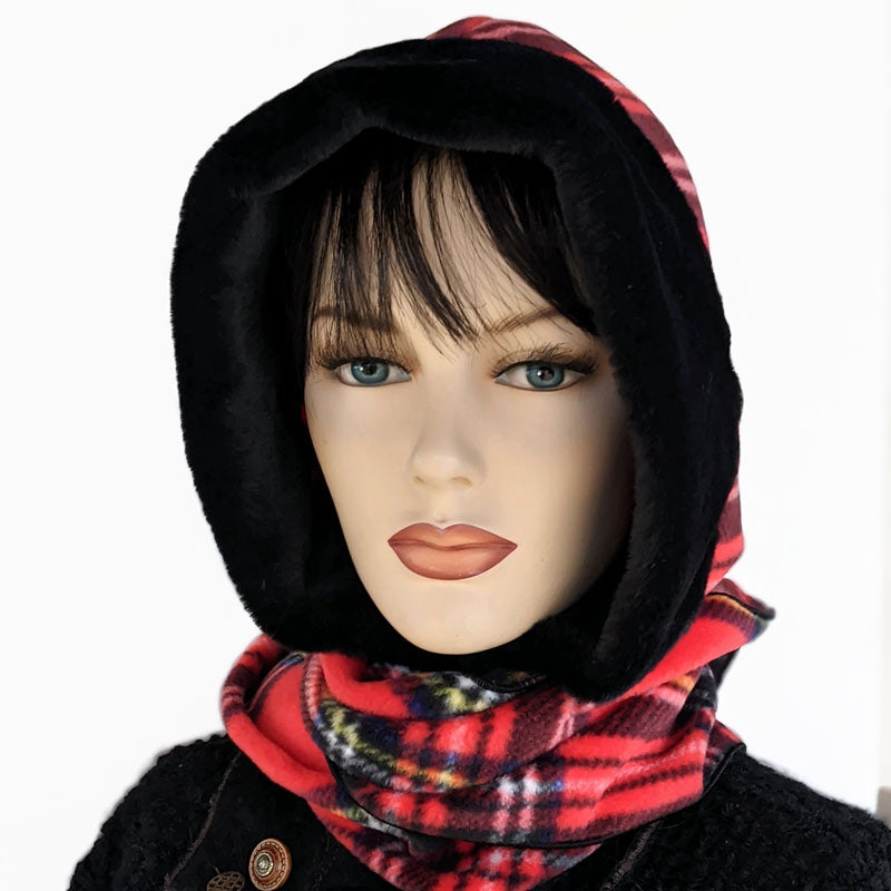 Cosy warm winter hoodie scarf Neckwarmer in premium Stewart Plaid, black faux fur trim