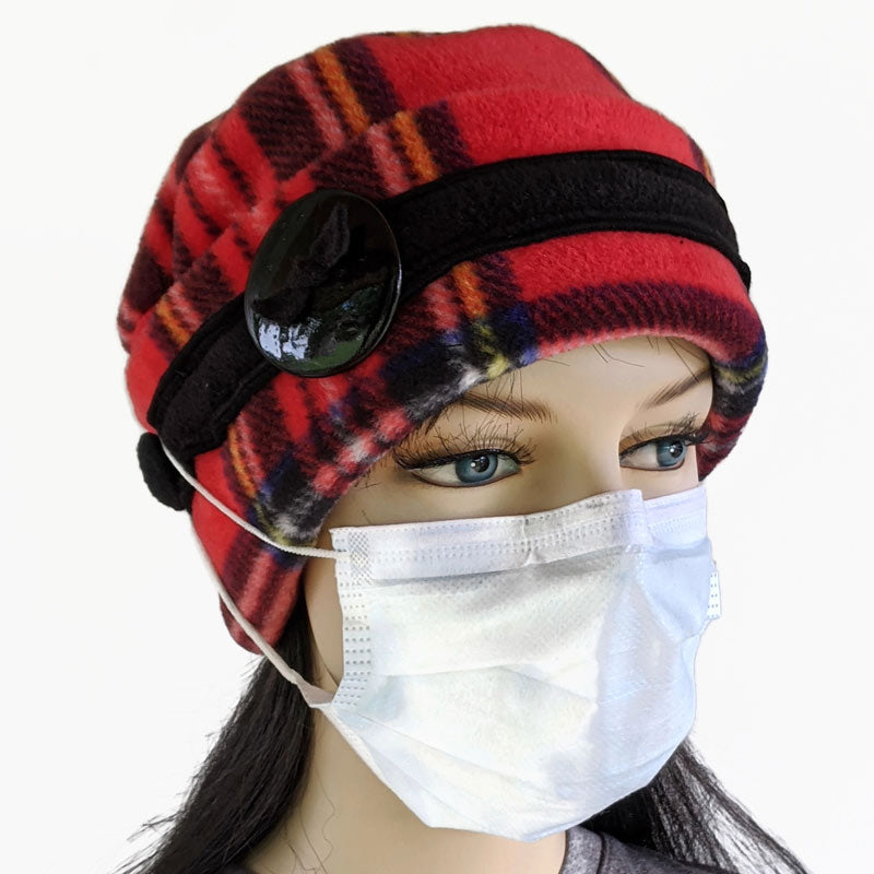 Big Button toque with mask ear saver buttons, in Stewart Plaid