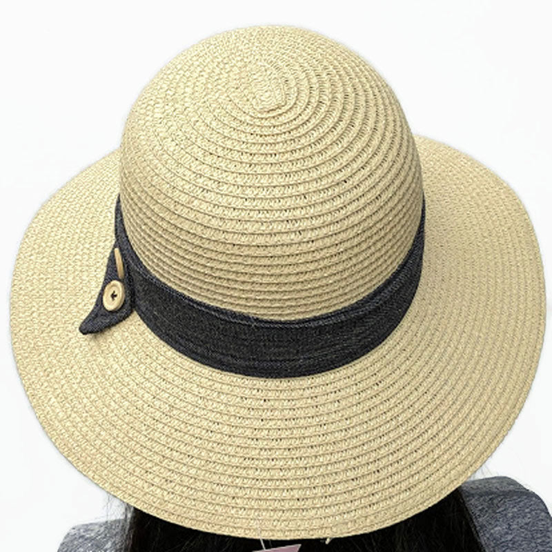 210 Large brim straw hat in sand or black with denim and button trim
