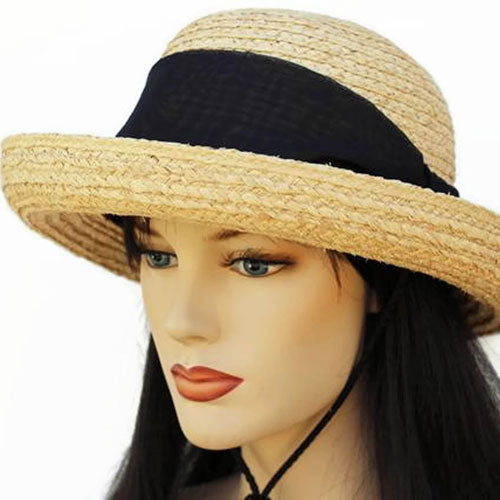 Raffia Straw summer straw sun hat with scarf and chinstrap