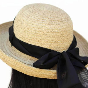 201 Raffia Straw summer straw sun hat with scarf and chinstrap