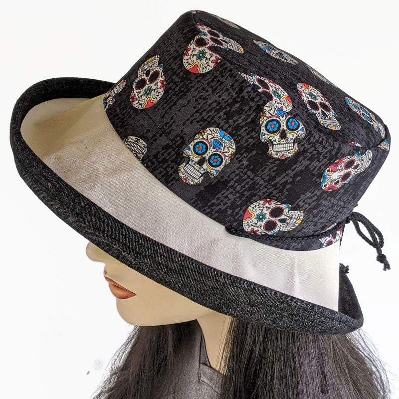 108 Sunblocker UV summer hat cotton sun hat featuring Mexican sugar skulls print
