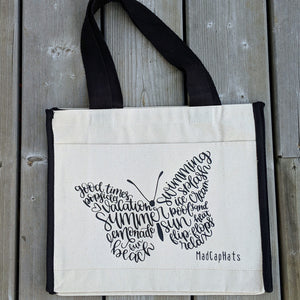 603 Butterfly days of summer Cotton Canvas Tote Bag