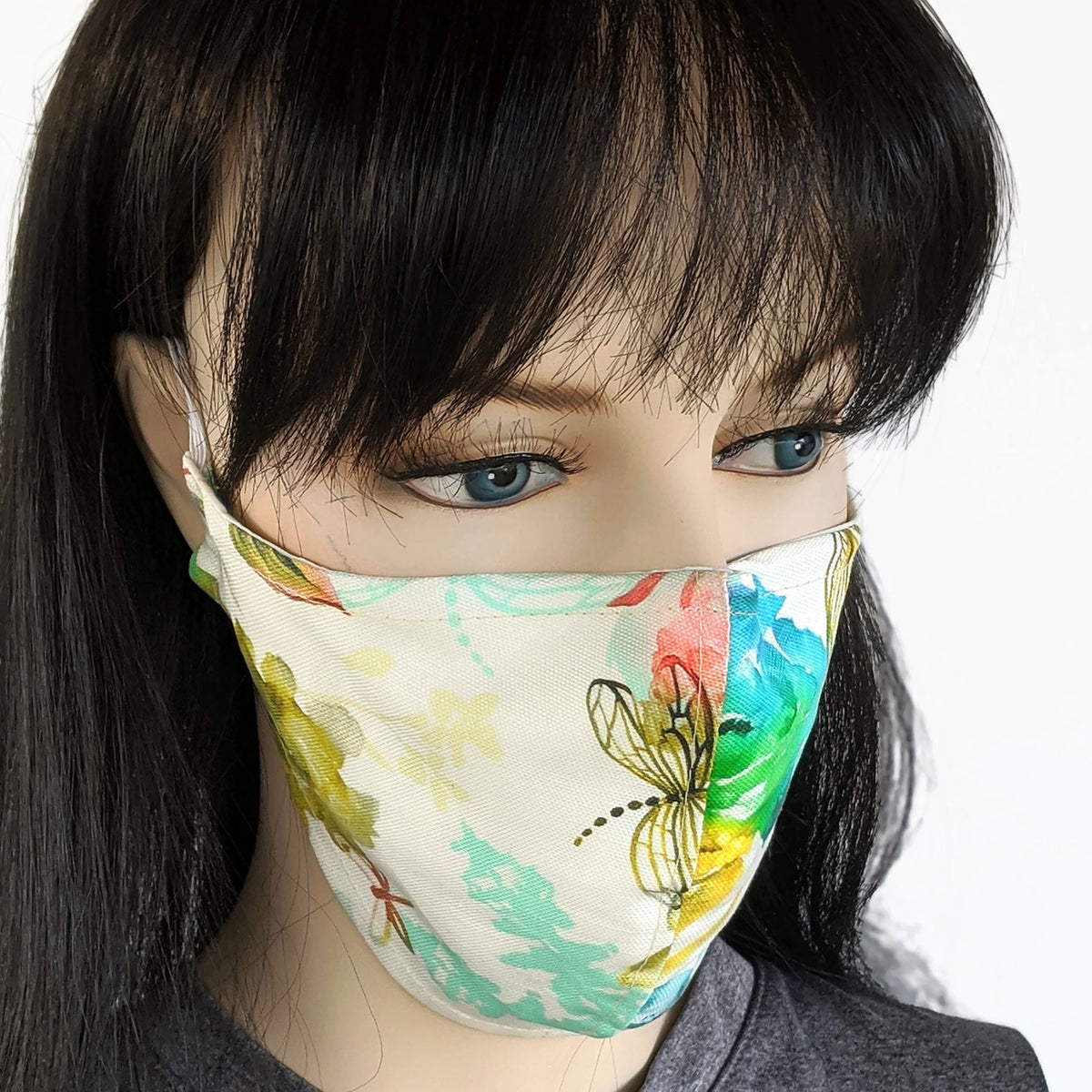 Cotton linen Fabric face mask, with poly cotton lining, abstract summer floral