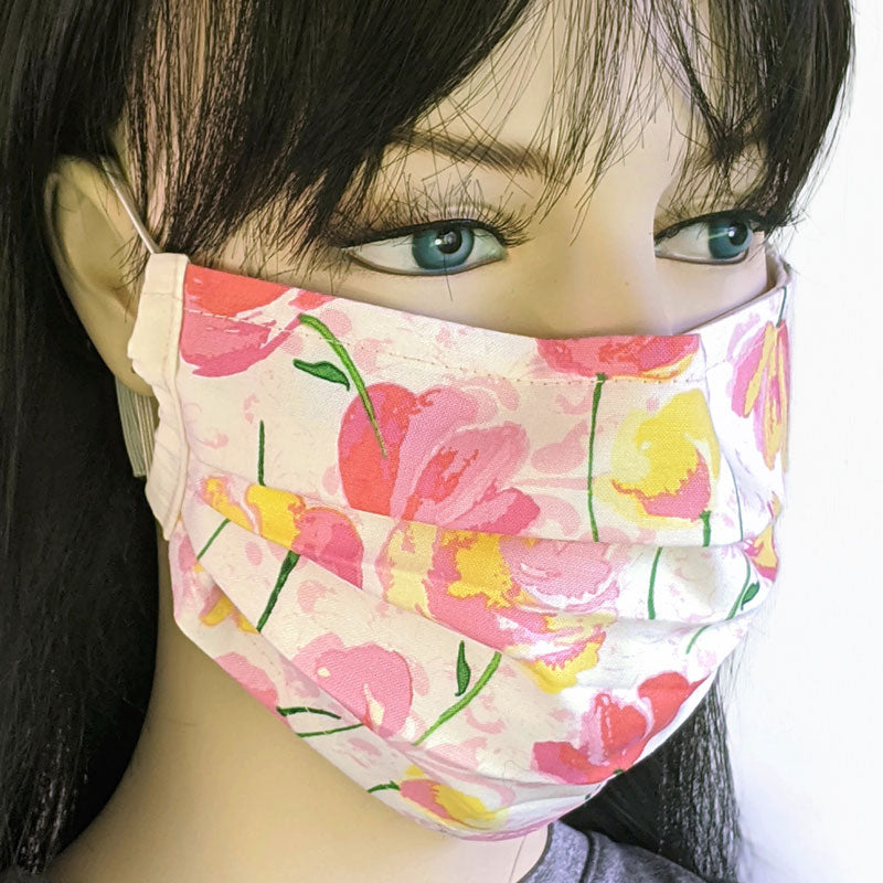 3 layer pleated folding style fabric face mask, beautiful summer tulips, one size