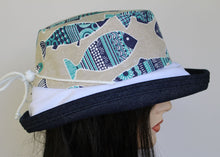 Sunblocker UV summer hat sun hat with large wide brim featuring lovely Portugal sardines print