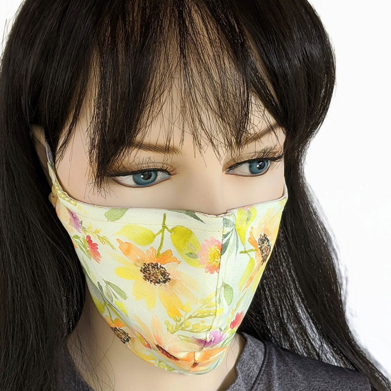 Cotton linen Fabric face mask, with poly cotton lining, beautiful sunflowers