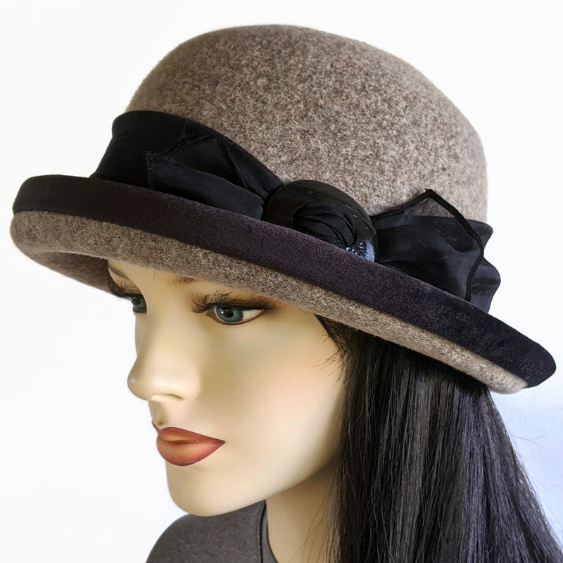 800-d Felted Wool Cloche in Taupe with Ajustable Fit