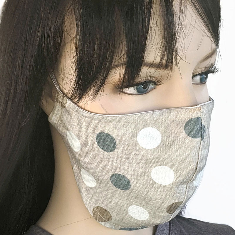 Cotton linen Fabric face mask, with poly cotton lining, taupe with polka dots