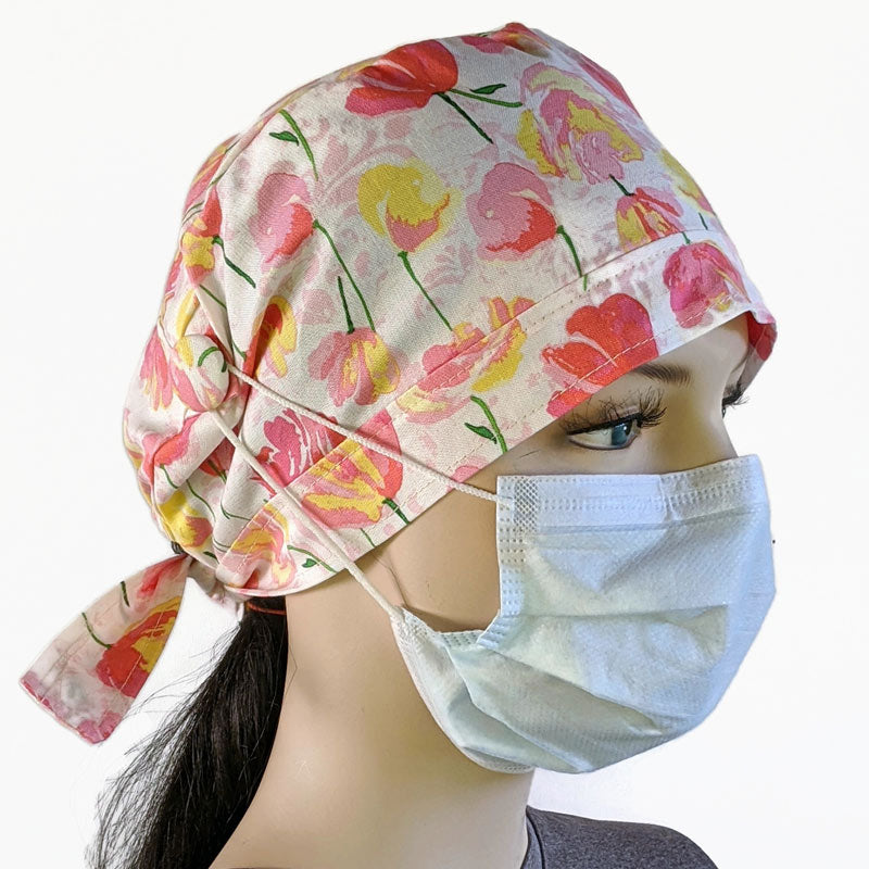 Cotton scrub cap, elastic and tie fit, mask elastic buttons, tulips on white
