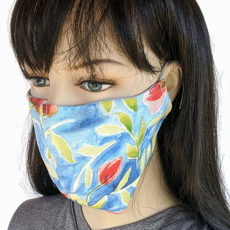 Cotton linen Fabric face mask, with poly cotton lining, tulips in blue