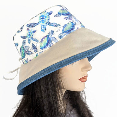 104 Sunblocker UV summer sun hat with large wide brim featuring sea turtle print