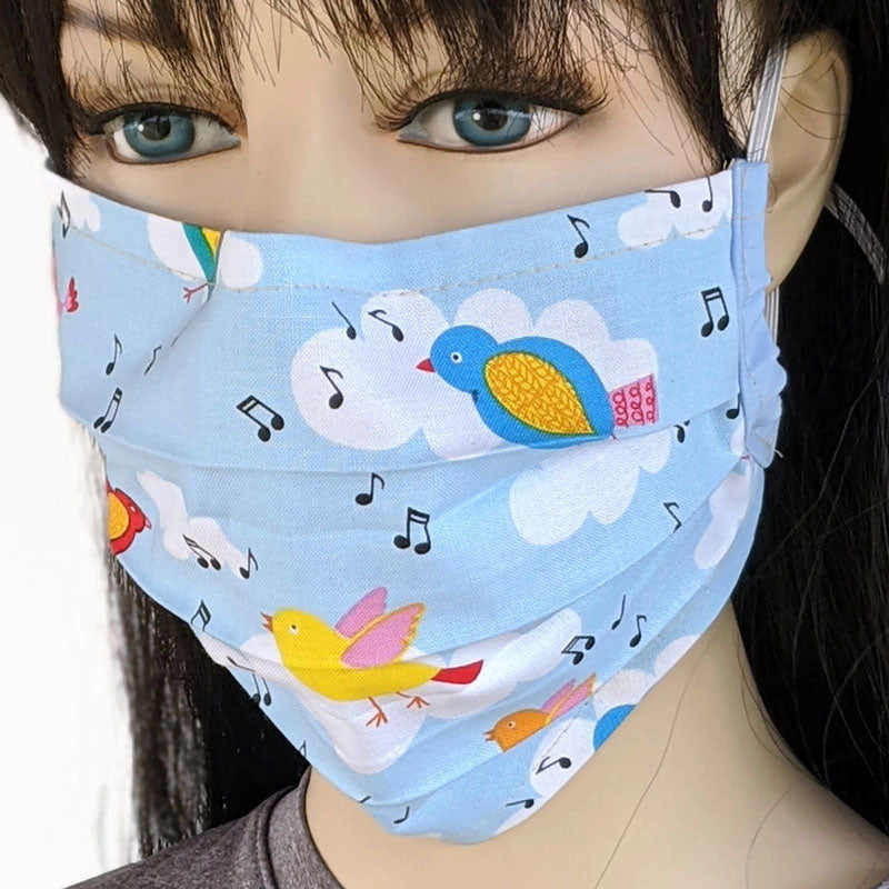 3 layer pleated folding style fabric face mask, tweeting birds, one size